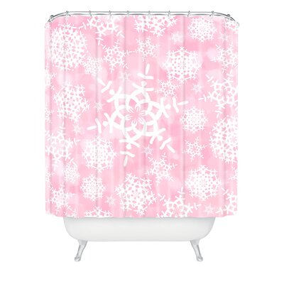 Clausen Snow Flurries Shower Curtain Color: Pink