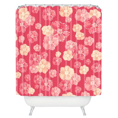 Aikin Blossoms on Coral Shower Curtain