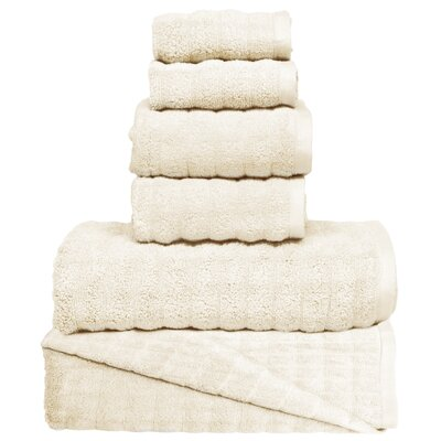 Wavy 6 Piece Towel Set Color: Ivory