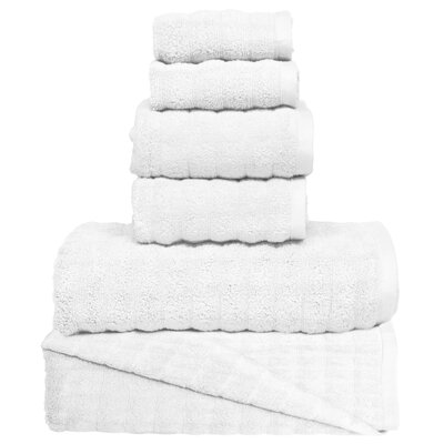 Wavy 6 Piece Towel Set Color: White