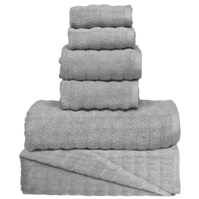 Wavy 6 Piece Towel Set Color: Gray