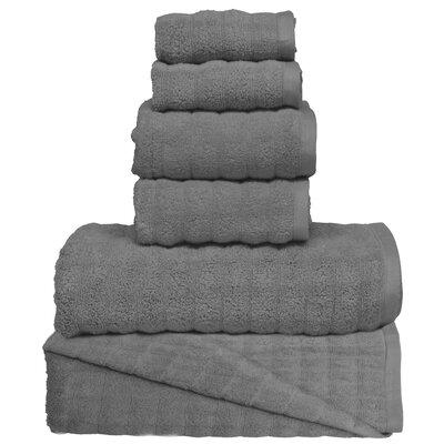 Wavy 6 Piece Towel Set Color: Charcoal