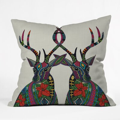 Dingler Poinsettia Deer Throw Pillow Size: Medium