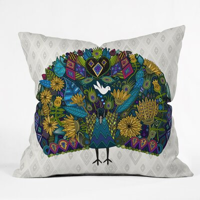 Defoor Sharon Turner Peacock Garden Throw Pillow Size: 16