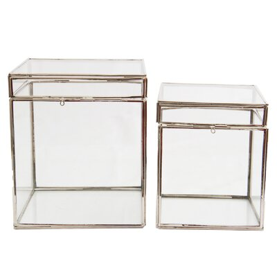 2 Piece Decorative Glass Box Set