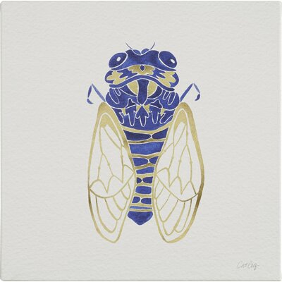 Cicada Artprint by Cat Coquillette Painting Print on Wrapped Canvas in Gold and Navy Size: 18