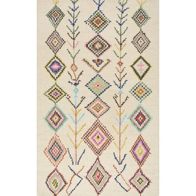 Cotto Marbella Belini Hand-Tufted Ivory/Blue Area Rug Rug Size: 4 x 6