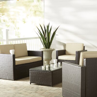 Belton 5 Piece Deep Seating Group with Cushion Fabric: Sand