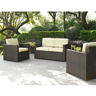Belton 3 Piece Wicker/Rattan Deep Seating Group with Cushion Fabric: Grey