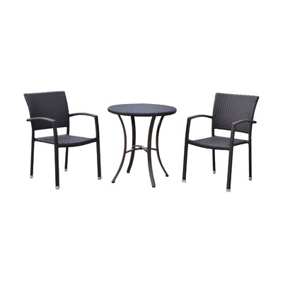 Katzer 3 Piece Bistro Set Finish: Chocolate