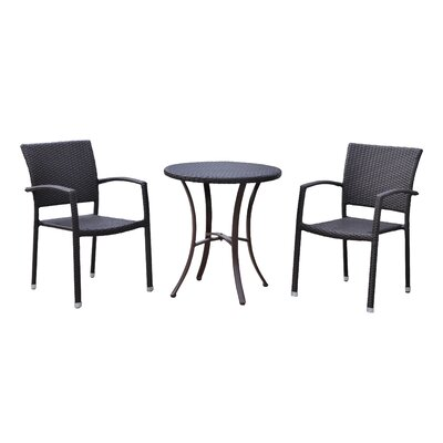 Katzer 3 Piece Bistro Set Finish: Black Antique