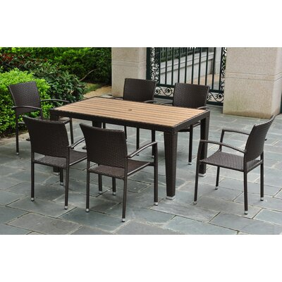Katzer 7 Piece Wicker Resin Patio Dining Set Finish: Chocolate