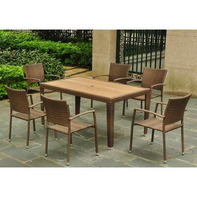 Katzer 7 Piece Wicker Resin Patio Dining Set