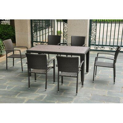 Katzer 7 Piece Wicker Resin Patio Dining Set Finish: Black Antique