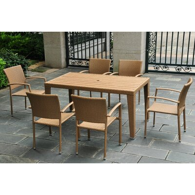 Katzer 7 Piece Wicker Resin Patio Dining Set Finish: Honey