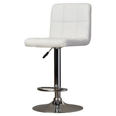 Lucht Adjustable Height Swivel Bar Stool Upholstery: White