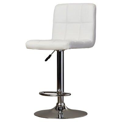 Lucht Adjustable Height Swivel Bar Stool Upholstery: White