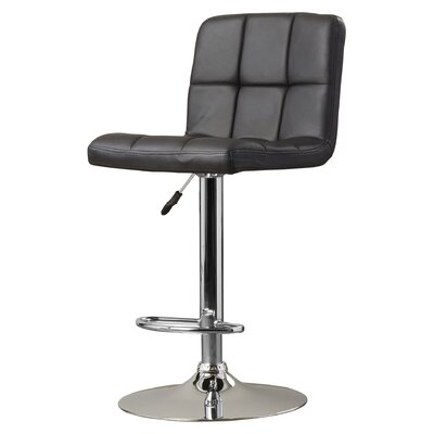Lucht Adjustable Height Swivel Bar Stool Upholstery: Black