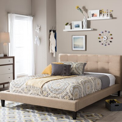 Frisina Upholstered Platform Bed Size: King, Color: Light Beige
