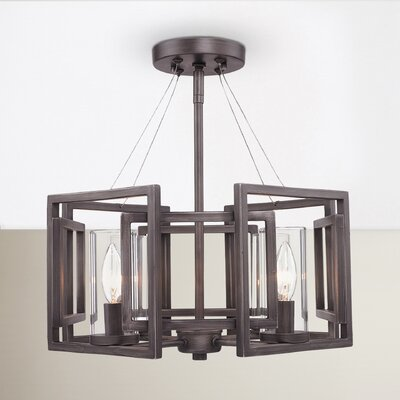 Politte 4-Light Semi Flush Mount Finish: Gunmetal Bronze