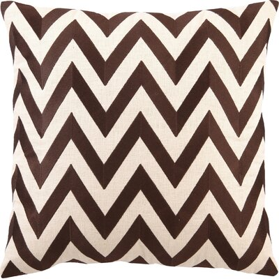 Kessler Embroidered Zig Zag Linen Throw Pillow Color: Brown