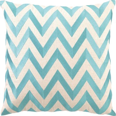 Kessler Embroidered Zig Zag Linen Throw Pillow Color: Turquoise