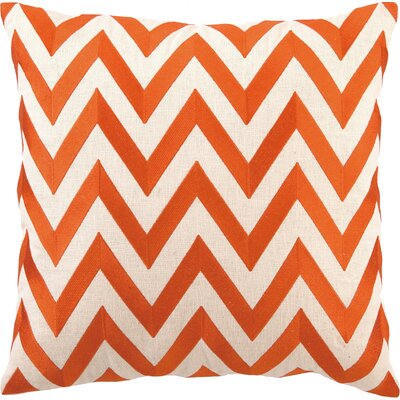 Kessler Embroidered Zig Zag Linen Throw Pillow Color: Orange