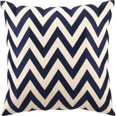 Kessler Embroidered Zig Zag Linen Throw Pillow Color: Navy