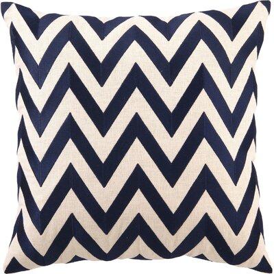 Kessler Embroidered Zig Zag Linen Throw Pillow Color: Navy