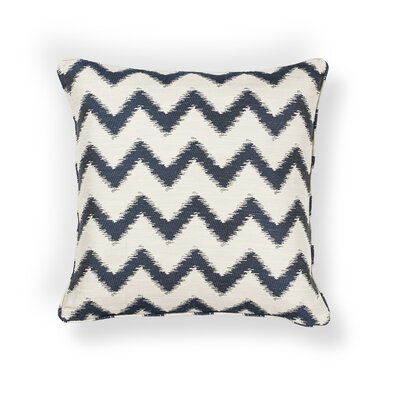 Mcentee Indoor/Outdoor Chevron Throw Pillow Size: 18 H x 18 W x 0.5 D, Color: Ivory/Navy