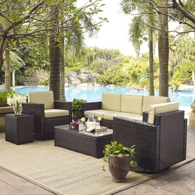 Belton 5 Piece Deep Seating Group Fabric: Sand