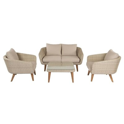 Brayden Studio Llanas 4 Piece Deep Seating Group with Cushion