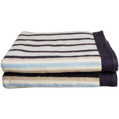 Stripes 2 Piece Bath Towel Set Color: Blue