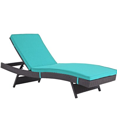 Ludwick Chaise Lounge with Cushion Fabric: Turquoise