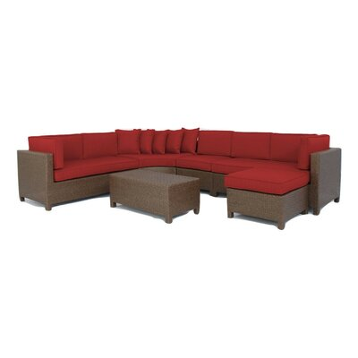 Luciano 6 Piece Sectional Deep Seating Group with Cushions Fabric: Ribbed Brick