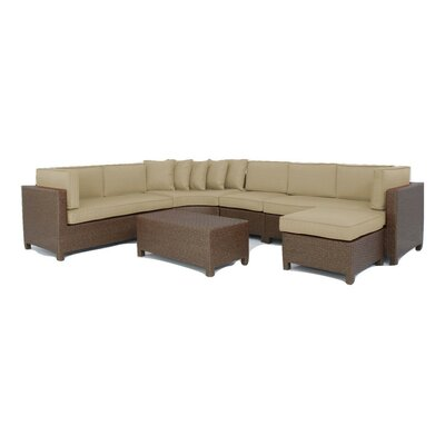 Luciano 6 Piece Sectional Deep Seating Group with Cushions Fabric: Tan