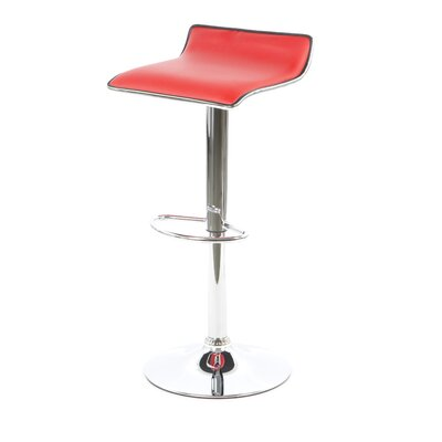 Lucht Adjustable Height Bar Stool (Set of 2) Upholstery: Red