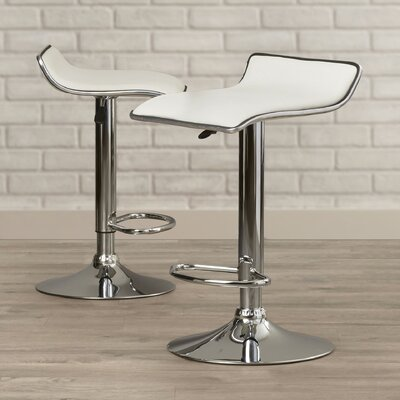 Lucht Adjustable Height Bar Stool (Set of 2) Upholstery: White