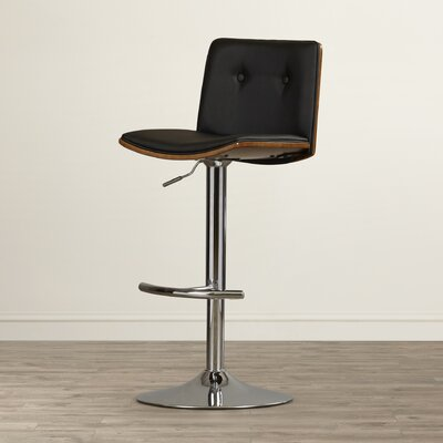 Loeb Adjustable Height Swivel Bar Stool Upholstery: Black