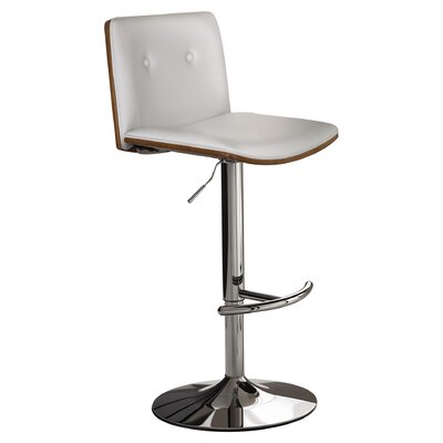 Loeb Adjustable Height Swivel Bar Stool Upholstery: White