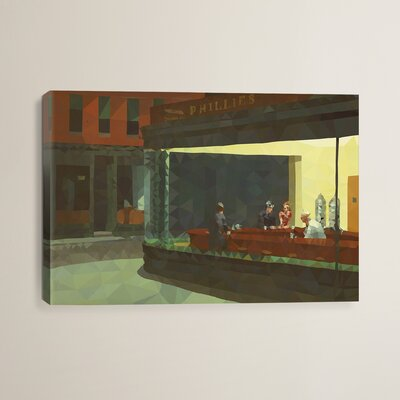 Nighthawks Derezzed Painting Print on Wrapped Canvas