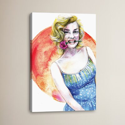 Marilyn Monroe by Rongrong DeVoe Painting Print on Wrapped Canvas