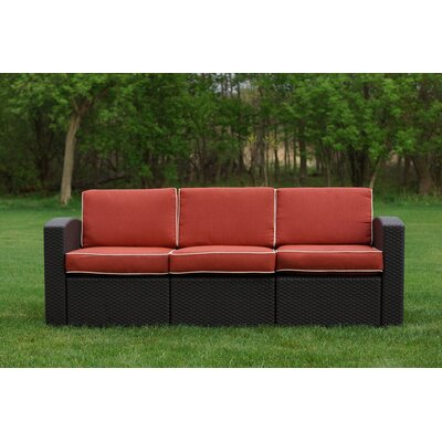 Loggins Patio Sofa with Cushions Fabric: Orange