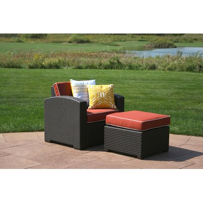 Brayden Studio Loggins Patio Chair with Cushion and Ottoman