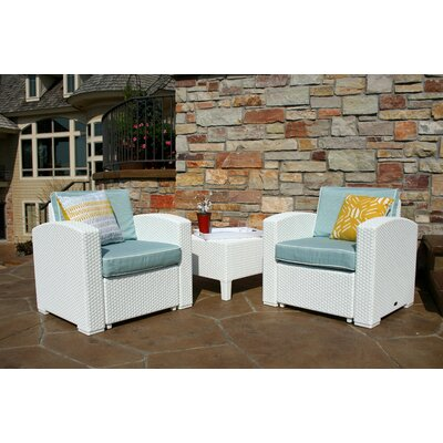 Loggins 3 Piece 2 Person Seating Group with Cushion Finish: White