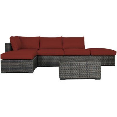 Lara 6 Piece Wicker Deep Sectional Seating Group with Cushions Fabric: Ribbed Brick