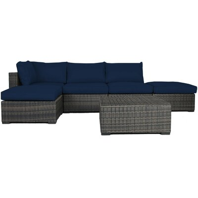 Lara 6 Piece Wicker Deep Sectional Seating Group with Cushions Fabric: Ribbed Navy