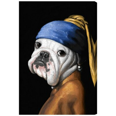 Dog with the Pearl Earring Graphic Art on Wrapped Canvas