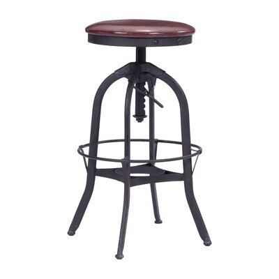Wrenn Adjustable Height Swivel Bar Stool with Cushion