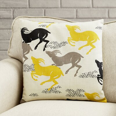 Deklan Animal Print Throw Pillow Cover Color: Yellow